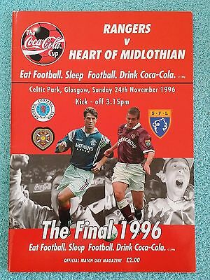 1996 - SCOTTISH LEAGUE CUP FINAL PROGRAMME - RANGERS v HEARTS - V.G CONDITION
