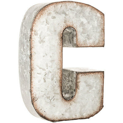 Rustic Galvanized Metal Thick Letters Wall Decor