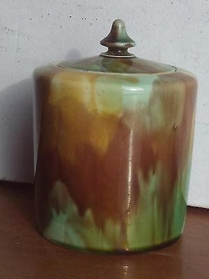 Antique Tobacco Jar With Lid Colored Numbered Pink Yellow Brown Teal