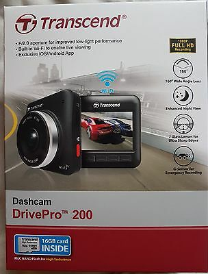 Transcend 16 GB DrivePro 200 Car Video Recorder with Built-In Wi-Fi Dashcam -NEW