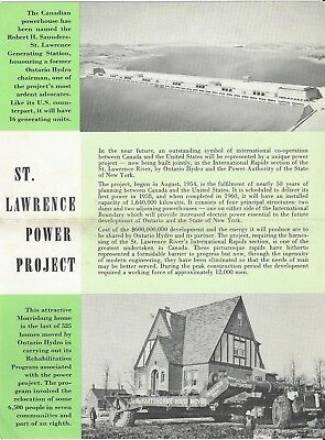 """Vintage collectible 4"""" x 6"""" POSTCARD St. Lawrence Hydro Power Project Ontario"""