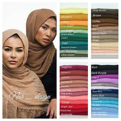 Cotton Blend Viscose Maxi Crinkle Hijab Scarf Soft  Muslim 60 colors 180x100cm