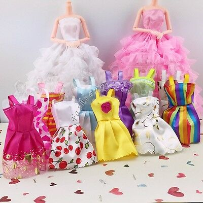 10 Pcs Party Wedding Fashion Dresses Clothes Gown For Barbie Dolls Girls Style