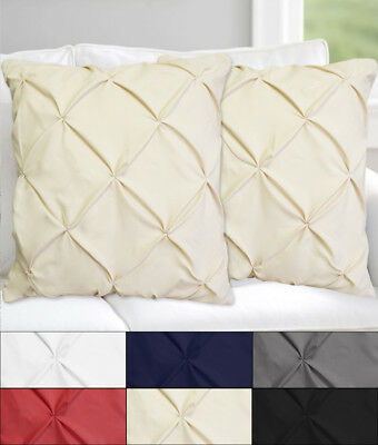 "Hudson Pinch Pleat Pintuck Decorative Throw Pillow 18"" x 18"" Set of 2 Six Colors"
