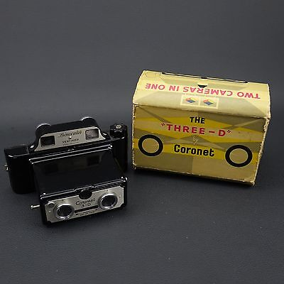 Vintage CORONET 3-D THREE D stereo CAMERA with BOX