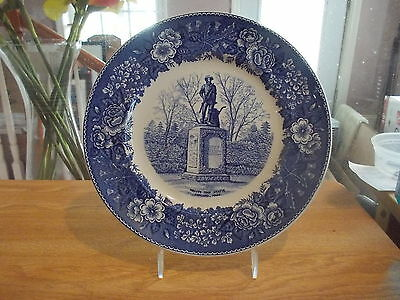 Vintage Adams Historical Blue Collector Plate-Minute Man Statue, Concord, MA