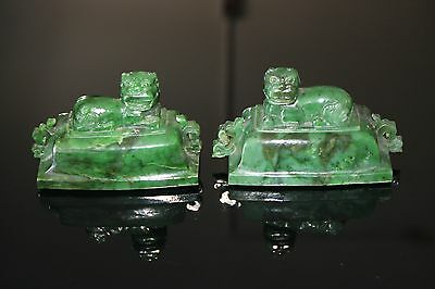 Antique Chinese Natural Green carved Jade pair Guardian foo fu fo dogs door lion