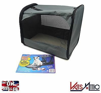 Grey Playful Pets Pet Carrier With Carry Strap Fold Away Small Dog Cat Carrier