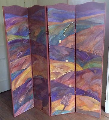 "JENNY SANDERS known Devon Guild artist MIXED MEDIA Screen/room divider ""Dartmoor"