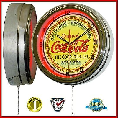 """The Coca-Cola Company Keg Label 16"""" Red Neon Lighted Wall Clock Chrome"""
