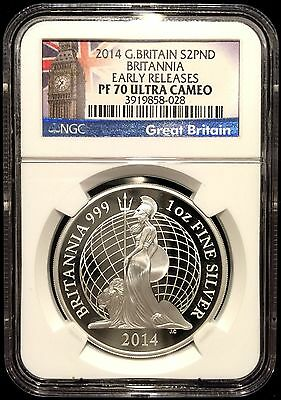 *2014 Great Britain 1 oz .999 Proof Silver Britannia £2 NGC PF70 UC ER-Big Ben*