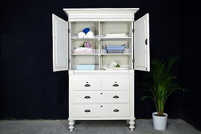 Antique Victorian Linen Press/ Armoire /Hall Cupboard/ Drawers