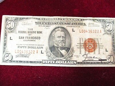 Series of 1929 Brown Seal $50 Fed Reserve Bank San Francisco Note