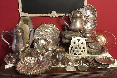Vintage Lot Of Silverplate Items Jewelry Box Teapot Trivet Trays Bowls Candle