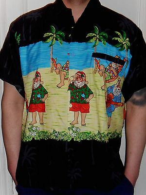 Mens Rare Funny Black Santa On Vacation Hawaiian Novelty Shirt 5 Sizes S - 3Xl