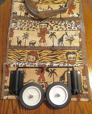 Vtg 2004 Betty Boop Fold-Up Wheeled Tote Bag-'Safari' Print Tapestry-NWT-RETIRED