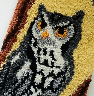 """Vintage Large Owl Completed Latch Hook Wall Hanging Art Rug Gorgeous 48"""" x 15.5"""""""