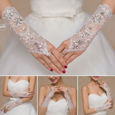 1PC New Bride Wedding Party Dress Fingerless Pearl Lace Satin Bridal Gloves