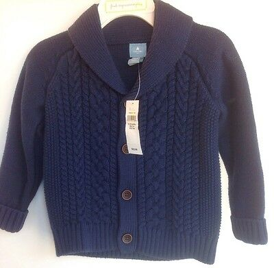 NWT Baby Gap Infant Toddler Boy Blue Cardigan Sweater 12-18M NEW