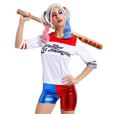 Ladies Harley Quinn Cosplay T-shirt Suicide Squad Daddy's Lil Monster Top Wigs