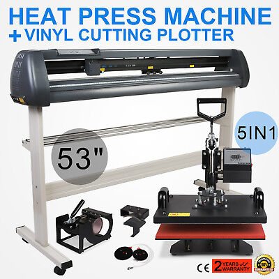 "5in1 Heat Press Transfer Kit 53"" Vinyl Cutting Plotter Printer Software Digital"