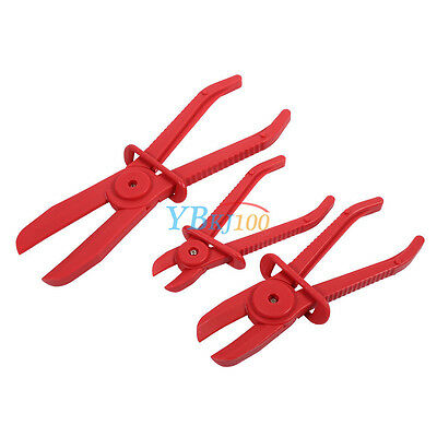 3x Flexible Nylon Hose Clamp Set Brake Fuel Water Line Plier Hands Free Tool AP