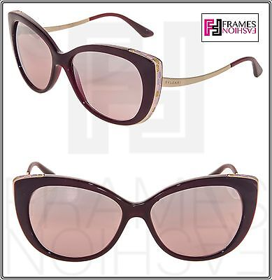 1e76cd1a3c7 BVLGARI Serpenti BV8178 Burgundy Gold Pink Silver Mirrored Metal Sunglasses  8178