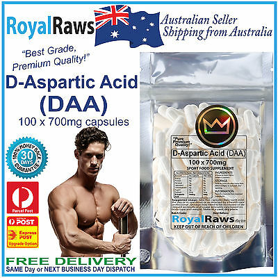 D-Aspartic Acid capsules DAA 100x700mg strength fat testosterone testicles loss