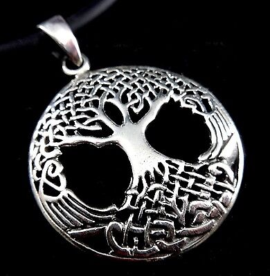 """Solid 925 Sterling Silver Celtic Tree of Life Yggdrasil Pendant """"Odin's Horse"""""""