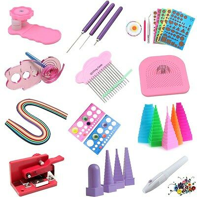 Paper Quilling DIY Craft Tool Slotted Template Board Mould Grid Needle Pen Set