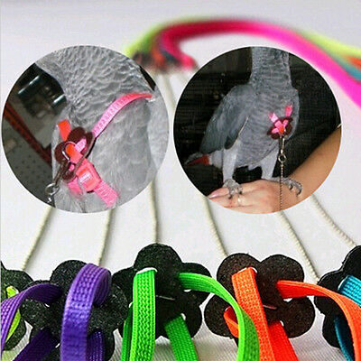Adjustable Parrot Bird Harness & Leash Anti-bite Multicolor Light Soft 1pc
