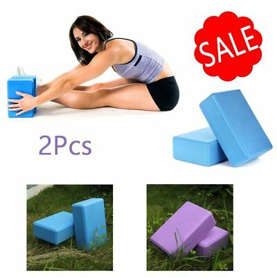 2 X Pilates Yoga Block Foaming Foam Brick Exercise Fitness Stretching Aid Gym WY