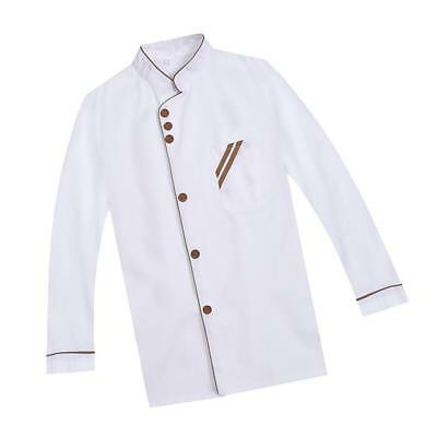 Professional Long Sleeves Chef Jacket Uniforms Kitchen Cooking Suit XL White