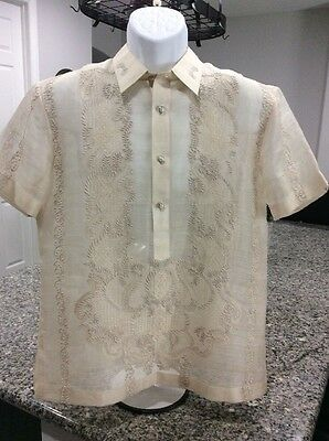Pre-Owned 100% Handmade Pina Silk Cloth Size M Slim Fit