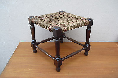 Vintage 1930s oak stool with string woven seat