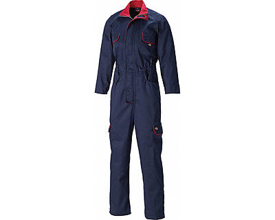 Dickies WD4839W Ladies Womens Overalls Boiler Suit Navy & Red Farm Agri Workwear