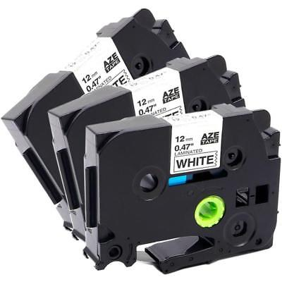 TZe-231 P-touch Label Tape Compatibel for Brother 12mm Laminated Cassette 3pk