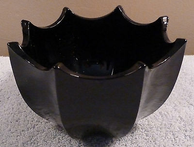 "Vintage unbranded opaque black glass 5-1/2"" lotus style candy dish or planter"