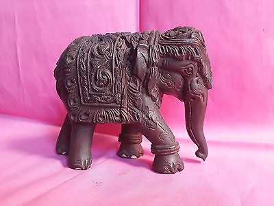 Antique Indian Wooden Fine Hand Carved Elephant Statue Figure Old Collectible 1