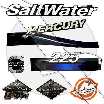 Mercury Marine Outboard Motor Engine 225hp Saltwater Decal Set 37-855408A04