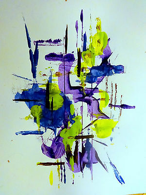 PURPLE HAZE ABSTRACT ART Acrylic painting on paper, unframed by Valerie Koudelka
