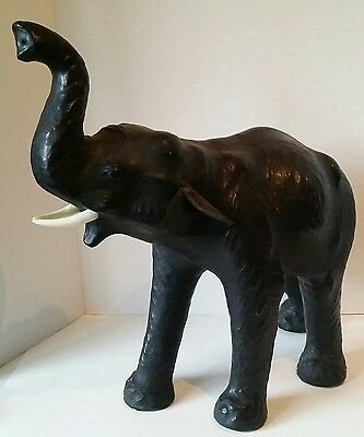 Leather African Elephant Figure Trunk Up Tusks Wild Jungle Animal Large Statue