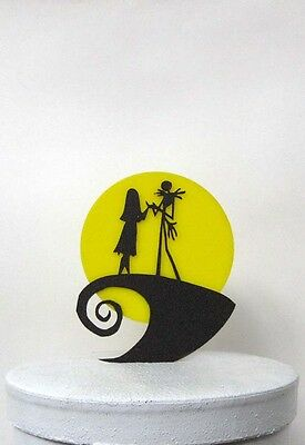 Wedding Cake Topper -The Nightmare Before Christmas Jack and Sally with moon