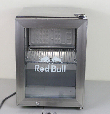 Redbull Commercial Stainless Mini Fridge Grey Fluorescent Collectible Glass Work