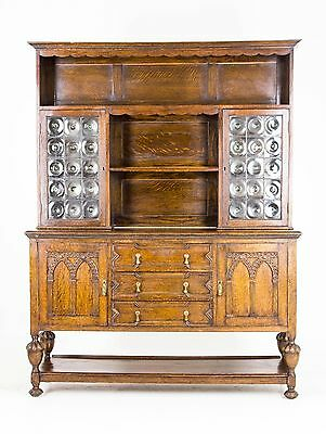 B580 Antique Scottish Oak Sideboard, Welsh Dresser, Buffet with Bullseye Glass