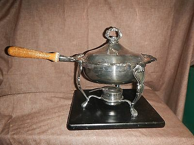 Vintage Georgetown Heavy Silverplate Chafing Dish W/Lid,Stand,Burner F.B. Rogers