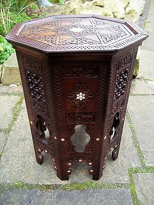 Superb  Antique Octagonal Moorish Inlaid Wooden   Side Table