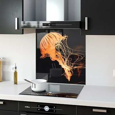 High Quality Glass Kitchen Splashback Sea Jellyfish p90798 60x65cm