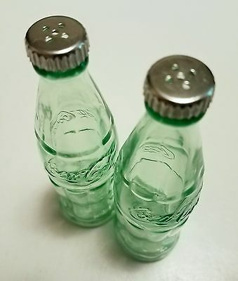 """COCA-COLA Green Glass Embossed Bottle Salt & Pepper Shakers, Collectible, 4 3/8"""""""