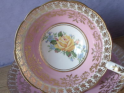 Vintage Royal Stafford England Pink & gold bone china yellow rose tea cup teacup